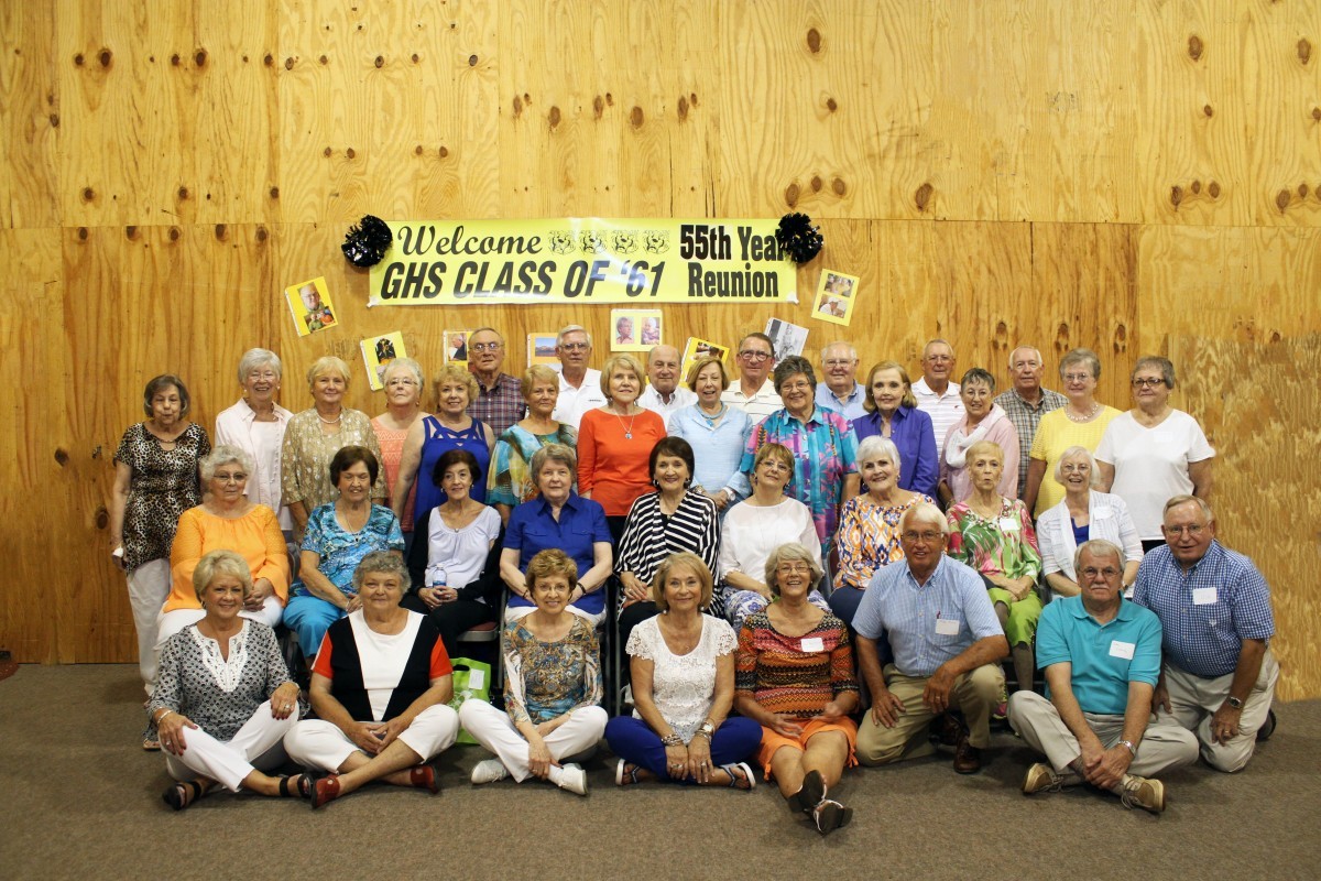 The Greenville High School class of 1961 recently celebrated with a 55th class reunion. Pictured are, from left: (back row) John Marlin Roper; Melvin Russell; Jamie Rainer; George Waller; Bo Thagard; Johnny Porter; Herb Dean; (third row) Charlotte Smith Andress; Wanda Harvell Hambrick; Joyce Till Smith; Ruth Little Wilson; Carolyn Till Deason; Jean Newton Tutchtone; Sandra Gayle Greenwood Weeks; Ann Gates Rainer; Melba Jean Cumbie Heartsill ; Ann Goggans Carey; Alice Armstrong Faigout; Jacquelyn Riley Newberry; Pat Allen Nall; (second row) Jeanette Reid Hester; Ann Smith Thompson; Linda Parsons Morgan; Jean Cheatham Russell; Sandra Boutwell Owens; Jean Williford Haygood; Judy Spann Pyle; Phyllis Norsworthy Armstrong; Kay Thagard Newman; (front row) Thelma Taylor Sheffield; Ann Hornsby Killough; Betty Till Wilson; Shirley Brewer Cowden; Alice Faye Newton Mullins; Phillip Pierce; Carlton Woodruff; Cecil Folds. (Photo by Cecil Folds)