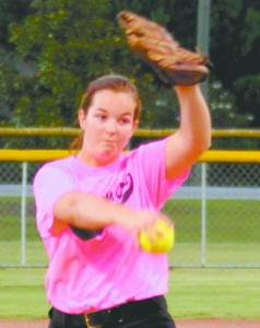 The Slammers of the Dixie Debs/Belles faced both the Green Machine and the Diamond Divas last Tuesday night at the Softball Complex. The Slammers came out on top in both games. Pictured is Slammers pitcher Laura Beth Blackmon pitching in the game against the Green Machine. The last regular season games were last night where All Stars were announced. Please look for a photo of both the Debs and Belles All-Star teams in next week's paper. (Photo by Tori J. Norris)