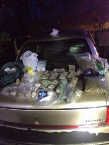 Drugs, cash and paraphernalia recovered from Pate's car.