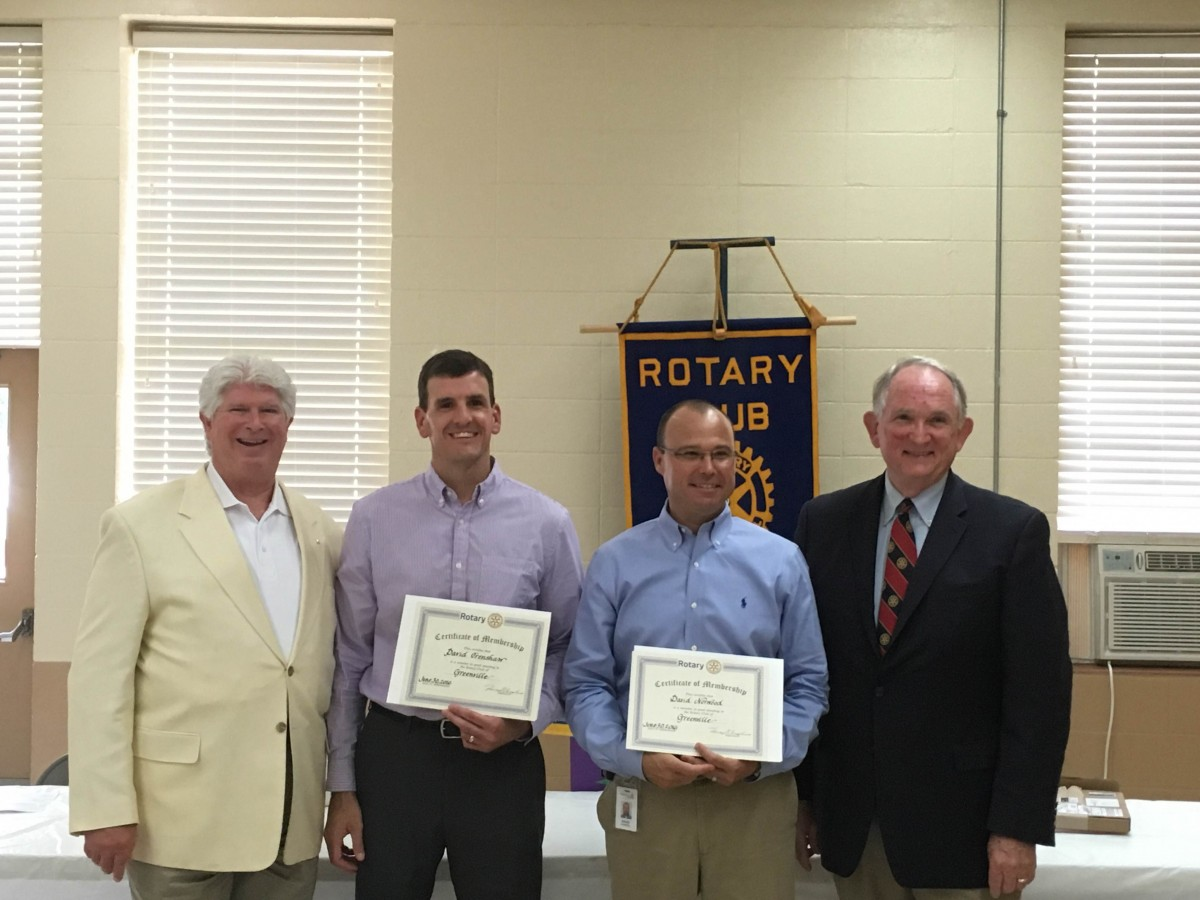 The Rotary Club of Greenville held their regularly scheduled meeting last Thursday. During the meeting, several members were recognized. David Norrell, who served as Immediate Past President this year, was recognized as a Paul Harris Fellow. The local club gave a $1,000 donation in his name to Rotary International to be used for worldwide projects. Pictured, above, from left, Keith Roling, Assistant District Governor, Norrell, and Dr. Jim Krudop, Membership Chair. The club also welcomed two new members, David Norwood with Alabama Power and David Crenshaw from Trustmark Bank. Pictured below, from left, Roling, Crenshaw, Norwood and Krudop. (Tori J. Norris   The Standard)