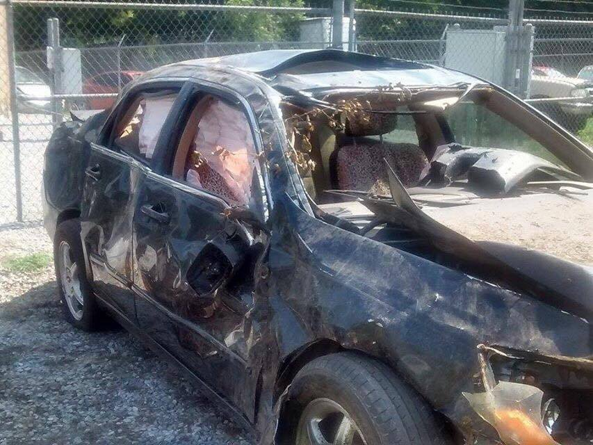 Walton's crashed car. (Submitted)