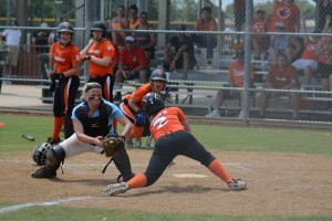 Savannah Mauch just missing the tag at the plate against Tennessee Photo by Bruce Branum