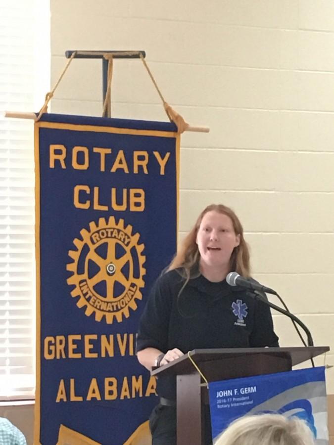 Kayla Garlock spoke at the Rotary Club's weekly meeting last Thursday. She shared the behind the scenes look at planning the Fast and Furry Car Show. (Tori J. Norris   The Standard)