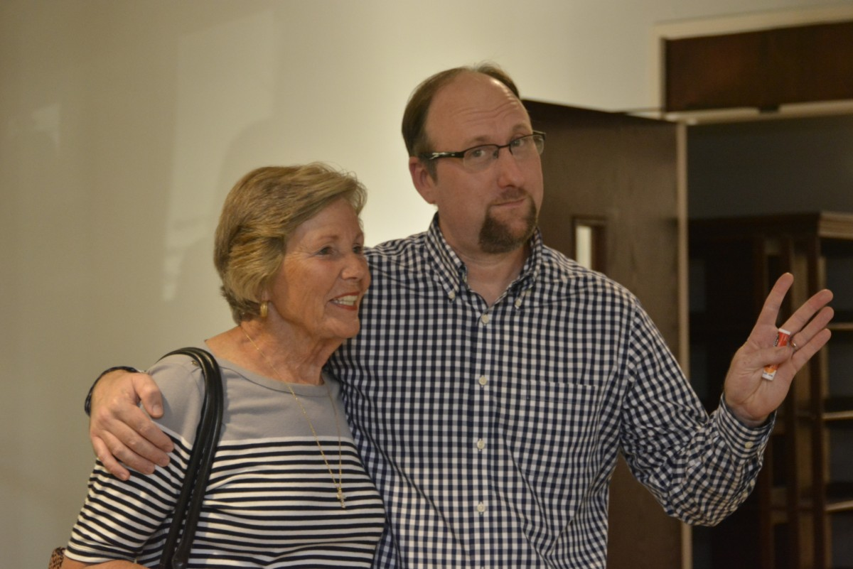Susan Murphy congratulates Pearcey on the renovations.