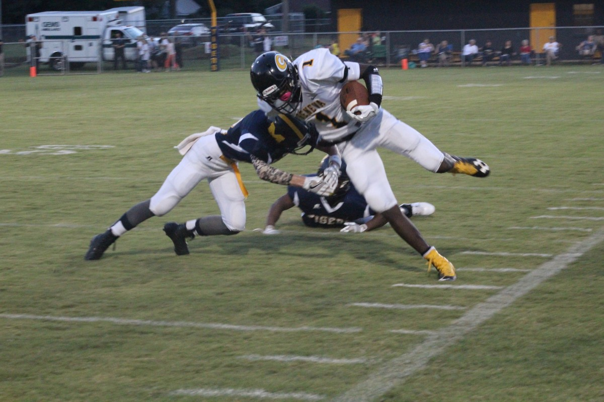 Jackson Vickery tackles Panther player.(Tori J Norris/The Standard)