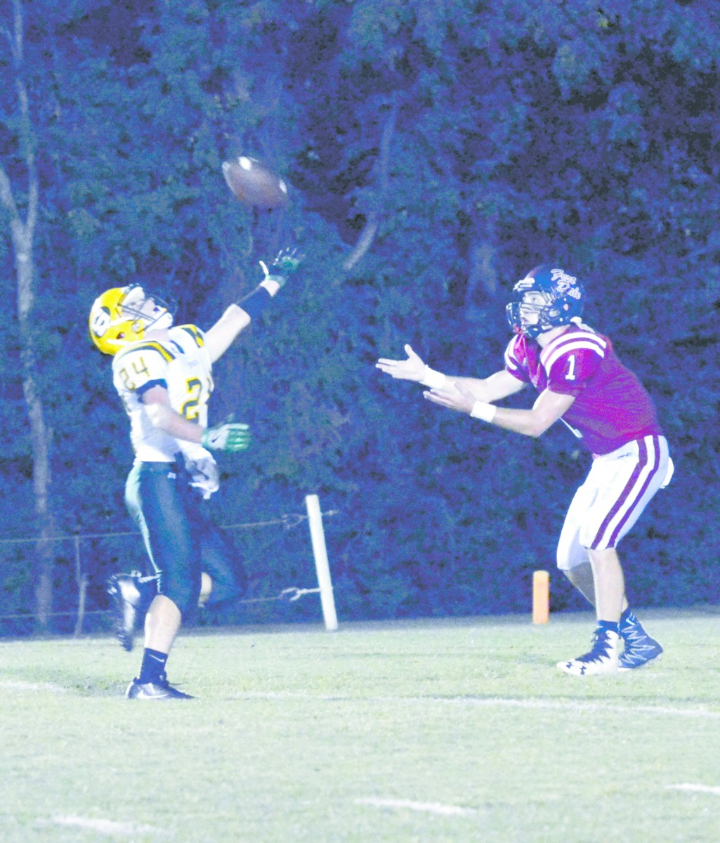 FDA'S Zach Kendrick receives a pass from Luke Taylor for TD. (Cecil Folds/The Standard)