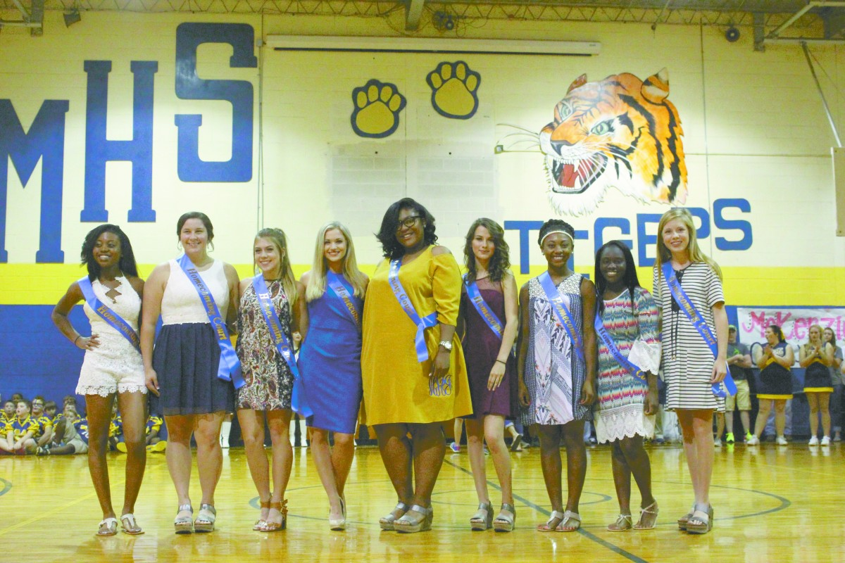 Pictured is the McKenzie Homecoming Court, from left: Ny'Esha Mitchell (12th), Amber Macks (12th), Ashley Lynch (12th), Camryn Reaves (11th), Nianee Atkins (11th), Winsday Tetter (10th), Kami Shufford (10th), Shantavia Rudolph (9th) and Bethany Ann Odom (9th). (Tori J Norris/The Standard)