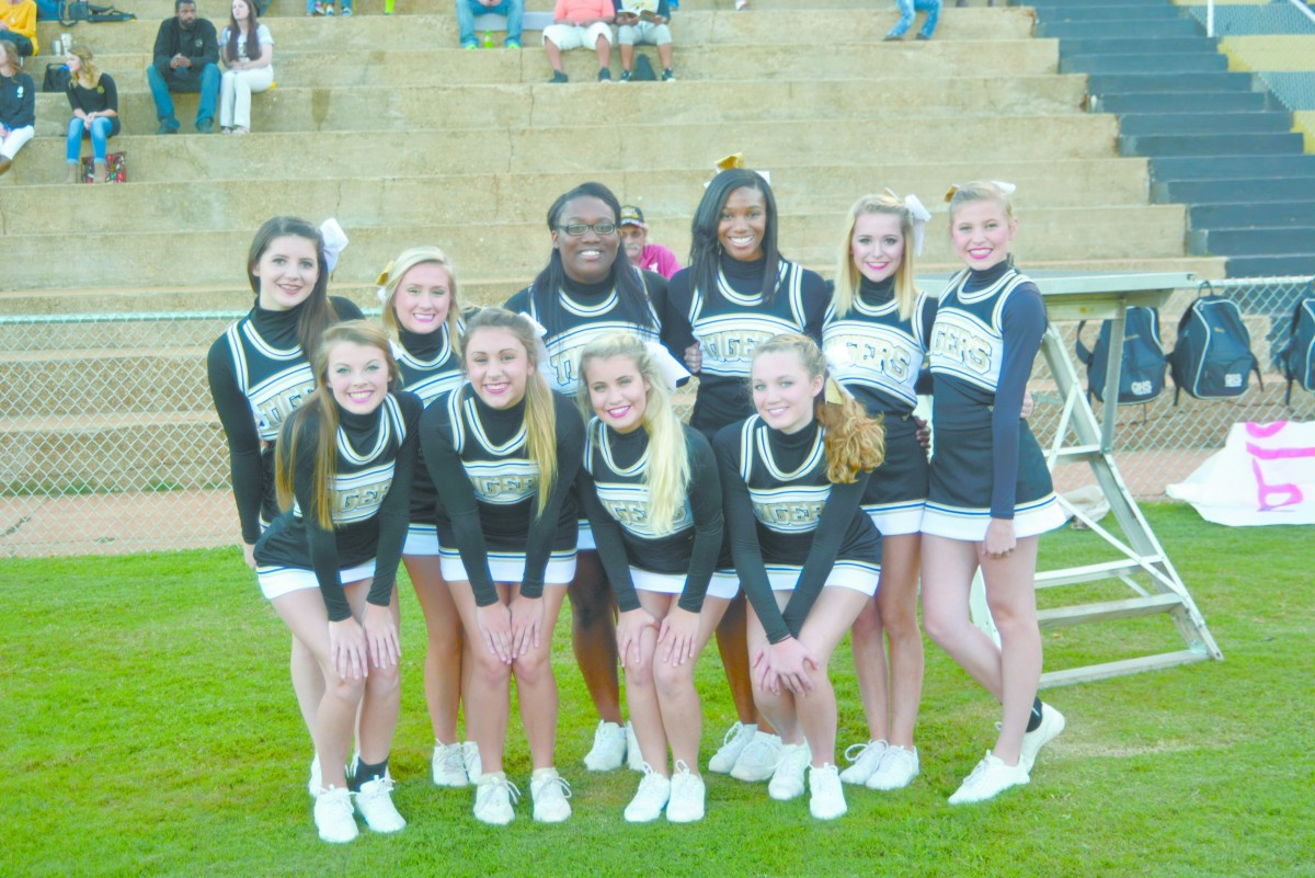 GHS Cheerleaders recently struck a pose before the game against Eufaula. Pictured from left to right: front row; Kaitlyn Neese, Rhiya Daniels, Alissa Taylor and Laila Boutwell. Second row; Madison Owens, Caitlyn Tilley, Kendra Robinson, Aniyah McClaney, Alyssa Lear and Sydney Owens. (Cecil Folds   The Standard)
