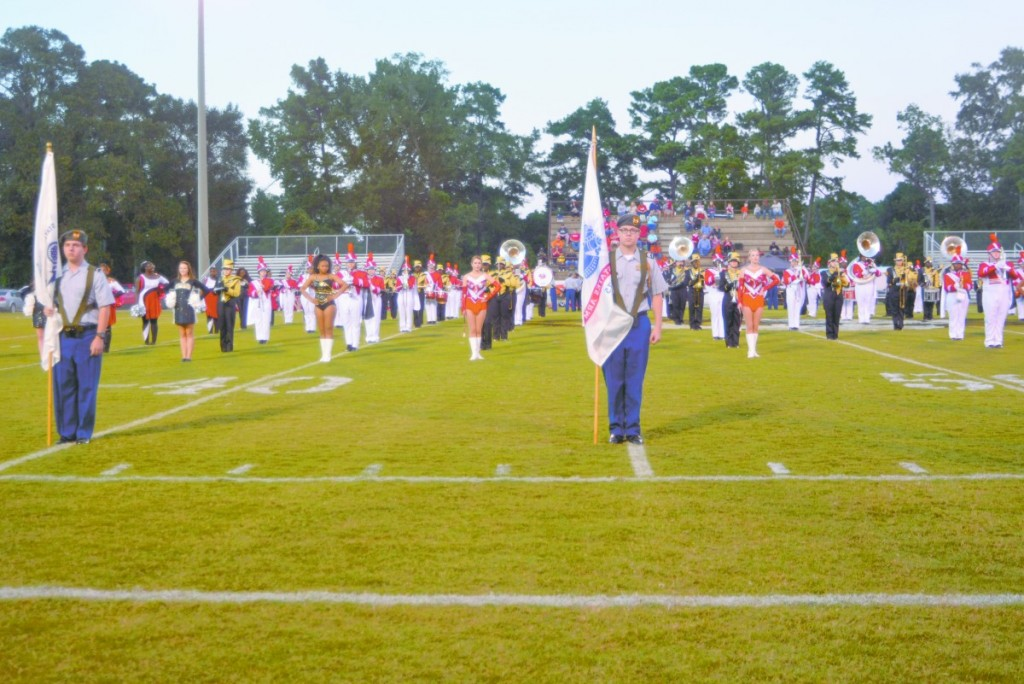 Greenville Band joins with Eufaula Band in a military tribute. (Cecil Folds | The Standard)