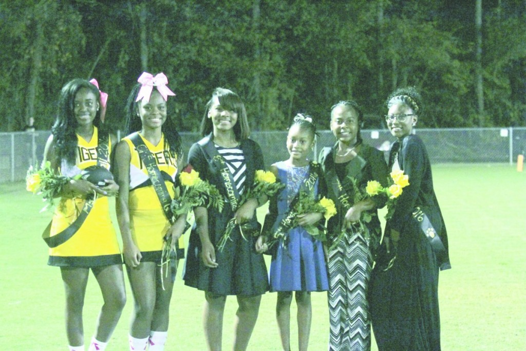 From left: Miss Football Teriyana Fore, GMS Homecoming Queen Asia Hamilton, 8th grade Attendant Jaqueata Adams, 5th grade Attendant Shania Boggan, 7th grade Attendant Errionna Burnette, 6th grade attendant Nikeria Aaron and Mr. Football Erik Rudolph (not pictured). (Cecil Folds | The Standard)