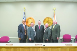 Newly elected Butler County Commissioners are, from left, Allin Whittle, Jesse McWilliams, Darrell Sanders, Joey Peavy and Frank Hickman. (Bruce Branum/The Standard)