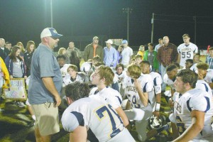 Coach Tony Norris addresses his 2016 team for the last time of the season after their loss to Sweet Water Friday night. (Tori J. Norris/.The Standard)