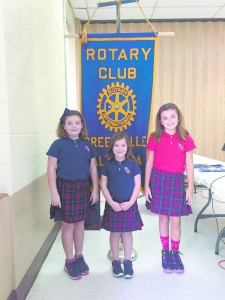Anna Grace Baker, Lillian Faith Baker and Charlotte Kate Anderson shared their story of the Faith Project with the Rotary Club last Thursday. (Tori Norris/The Standard)