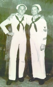 Brothers Fred, on the left, and Henry Sollie both served in the Navy during WWII. Henry lost his life at Pearl Harbor. His remains have now been identified and are being returned for burial. (Submitted)