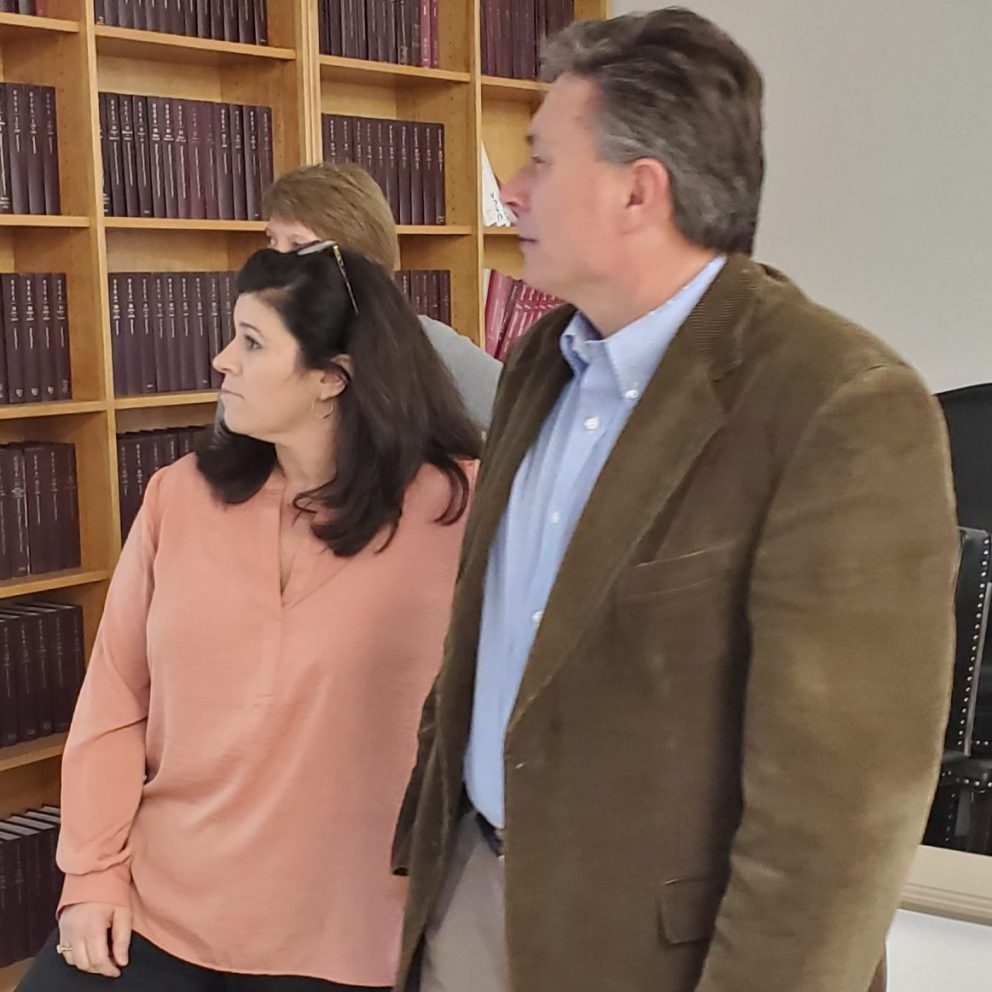 Nicki McFerrin and Tim Craig, Republican candidates for District Judge, look at results from the Primary Election on Tuesday, March 3. (Bruce Branum | The Standard)